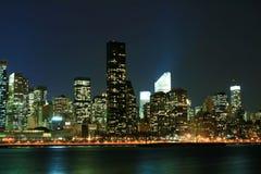 Manhattan skyline at Nights Stock Photos