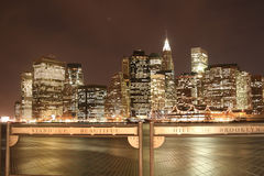 Manhattan skyline at Nights Royalty Free Stock Photo