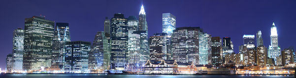 Manhattan skyline at Nights Royalty Free Stock Photography