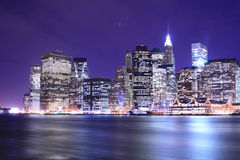 Manhattan skyline at Nights Stock Photos