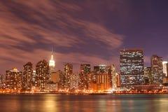Manhattan skyline at Nights Royalty Free Stock Photos