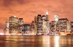 Manhattan skyline at Nights Stock Photography