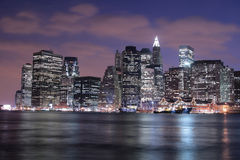 Manhattan skyline at Nights Royalty Free Stock Image