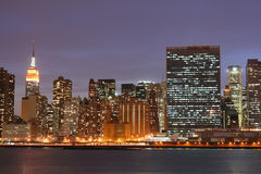 Manhattan skyline at Nights Stock Image