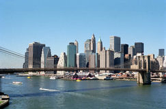 Manhattan Skyline NYC USA. Manhattan and Brooklyn Bridge viewed from the Manhattan Bridge stock photo