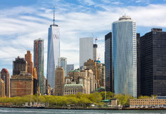 Manhattan skyline in NYC. Sunny day in New York. View of Manhattan skyline in NYC Stock Photos