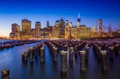 Manhattan Skyline with the One World Trade Center building at tw Stock Photo