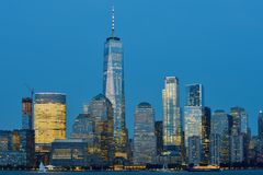 Manhattan Skyline over Hudson river Stock Photos