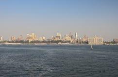 Manhattan Skyline  over Hudson River, New York City Stock Photos