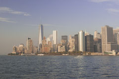 Manhattan Skyline  over Hudson River, New York City. Horizontal Royalty Free Stock Photos