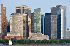 Manhattan Skyline over Hudson river Royalty Free Stock Image