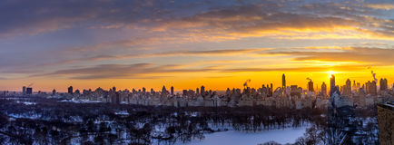 Manhattan skyline. Over looking Central Park in Manhattan with high rise alone the fifth Ave and beyond Stock Images