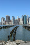 Manhattan skyline panorama from Brooklyn Bridge Park Stock Photos