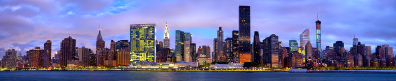 Manhattan skyline panorama Royalty Free Stock Photo