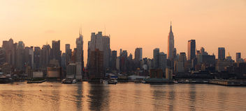 Manhattan skyline panorama in New York City Royalty Free Stock Images