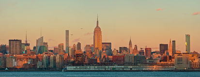 Manhattan skyline panorama at sunset, New York City Stock Image