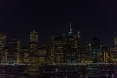 Manhattan skyline panorama with Times Square lights at dusk, New. York City, USA stock photo
