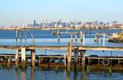 Manhattan Skyline and Pier Stock Photo