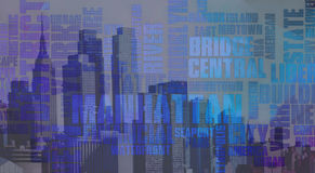 Manhattan. Skyline with related text Royalty Free Stock Photography