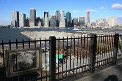 Manhattan skyline, remembering WTC Royalty Free Stock Photo