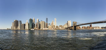 Manhattan skyline seen from Brooklyn side Royalty Free Stock Photo