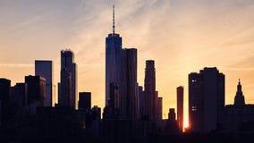 Manhattan skyline silhouette at sunset, New York. Royalty Free Stock Image