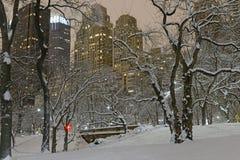 Manhattan skyline after snowstorm Stock Image