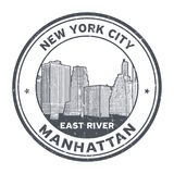 Manhattan Skyline stamp. Grunge rubber stamp with Manhattan Skyline and the word East River inside vector illustration Stock Photo