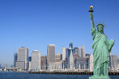 Manhattan Skyline and The Statue of Liberty Royalty Free Stock Photo