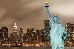 Manhattan Skyline and The Statue of Liberty Stock Images