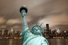 Manhattan Skyline and The Statue of Liberty Stock Image