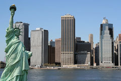 Manhattan skyline and the Statue of Liberty, NYC royalty free stock photo