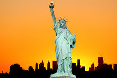 Manhattan Skyline and The Statue of Liberty Stock Photo