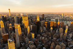 Manhattan skyline at sunset Royalty Free Stock Photo