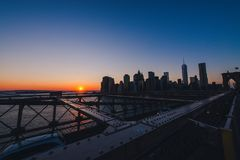 Manhattan Skyline at sunset stock images