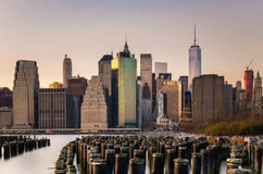 Manhattan skyline at sunset Royalty Free Stock Images