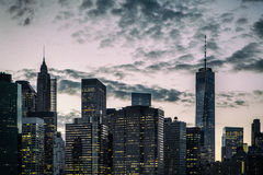 Manhattan skyline at sunset. Iconic view of the New York skyline stock images