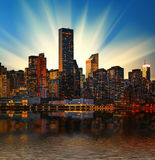 Manhattan skyline at sunset Stock Photos