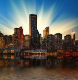 Manhattan skyline at sunset Stock Photos