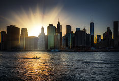 Manhattan Skyline during sunset Stock Image