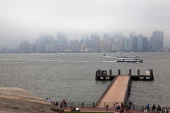 Manhattan Skyline Under the Fog Royalty Free Stock Images