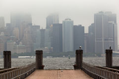 Manhattan Skyline Under the Fog Stock Image