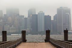 Manhattan Skyline Under the Fog Stock Image