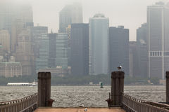 Manhattan Skyline Under the Fog Royalty Free Stock Photos