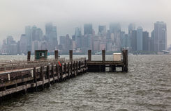 Manhattan Skyline Under the Fog Stock Photos