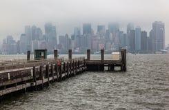 Manhattan Skyline Under the Fog Stock Photos