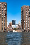 Manhattan Skyline view from the East River, New York City. Palaces of Manhattan view from the East River, NYC royalty free stock images