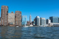 Manhattan Skyline view from the East River, NYC. Skyscrapers of Manhattan view from the East River, New York City royalty free stock photography