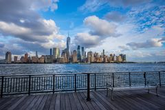 Manhattan skyline view from Jersey City waterfront. Pontoon royalty free stock images