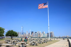 Manhattan skyline viewed from Ellis Island Stock Photos